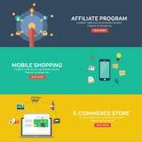 Het vlakke stijl mobiele winkelen, elektronische handelopslag en filiaalprogramma Stock Foto