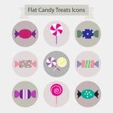 Het vlakke suikergoed behandelt pictogrammen Stock Fotografie