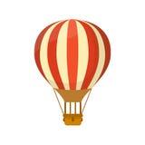 Het vlakke symbool van de hete luchtballon voor illustratie of embleemontwerp stock illustratie