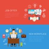 Het vlakke van de de aanbiedingswerkplaats van de stijlbaan van de de websitebanner infographic pictogram Royalty-vrije Stock Afbeeldingen