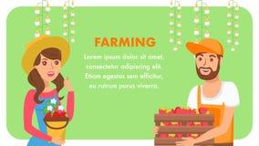 Het Vlakke Vectormalplaatje de landbouw van de Bedrijfswebbanner vector illustratie