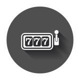 Het vlakke vectorpictogram van de casinogokautomaat 777 potillustratie p Royalty-vrije Stock Foto's