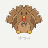 Het vlakke vectorpictogram van de lijnkleur met leuk dier voor babyproducten - Turkije De stijl van het beeldverhaal De krabbel v Royalty-vrije Stock Foto's
