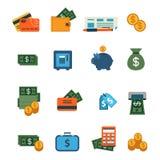 Het vlakke vectorpictogram van de plaatsinterface: financiën, bankwezen, dollar, geld stock illustratie