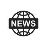 Het vlakke vectorpictogram van het wereldnieuws Het embleemillustratie van het nieuwssymbool Stock Afbeeldingen