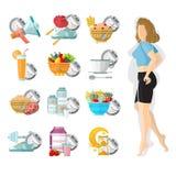 Het vlakke verlies van het illustratiegewicht Slank meisje met verschillende pictogrammen van haar routinedag Royalty-vrije Stock Fotografie