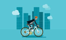 Het vlakke zakenmankarakter biking gaat werken stock illustratie