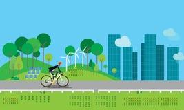 Het vlakke zakenmankarakter biking op de weg royalty-vrije illustratie