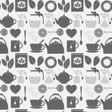 Het vlakke zwart-wit naadloze patroon van theepictogrammen Stock Afbeeldingen