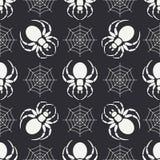 Het vlakke zwart-wit vector naadloze patroon van de het wildfauna met zwarte weduwespin vereenvoudigd De stijl van het beeldverha Royalty-vrije Stock Foto