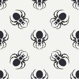 Het vlakke zwart-wit vector naadloze patroon van de het wildfauna met zwarte weduwespin vereenvoudigd De stijl van het beeldverha Stock Afbeelding