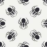 Het vlakke zwart-wit vector naadloze patroon van de het wildfauna met zwarte weduwespin vereenvoudigd De stijl van het beeldverha Stock Fotografie