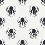 Het vlakke zwart-wit vector naadloze patroon van de het wildfauna met zwarte weduwespin vereenvoudigd De stijl van het beeldverha Stock Foto