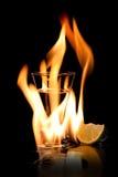 Het vlammen vodca Stock Afbeeldingen