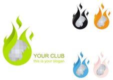 Het vlammende Embleem van de Club van de Bal van de Disco vector illustratie