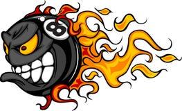 Het vlammende VectorBeeld van het Gezicht van Acht bal Stock Afbeeldingen
