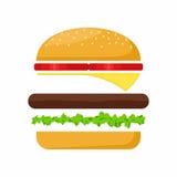 Het vlees, de sla, de kaas en de tomaat van hamburgeringrediënten Snel Voedselvector stock illustratie