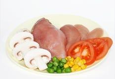 Het vlees en de groente van de kip Royalty-vrije Stock Afbeeldingen