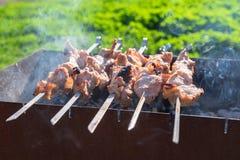 Het vlees is gebraden op vleespennen op de grill Royalty-vrije Stock Foto's