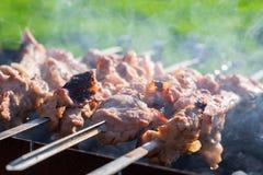 Het vlees is gebraden op vleespennen op de grill Royalty-vrije Stock Fotografie