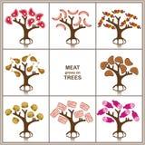 Het vlees groeit op bomen, Vector geplaatste bomen Royalty-vrije Stock Afbeeldingen