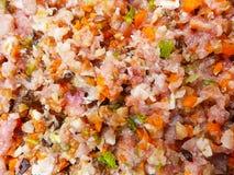 Het vlees hakt met groente fijn Stock Afbeelding