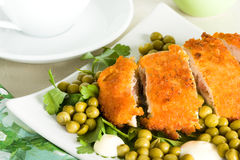 Het vlees van de kip met erwt Stock Afbeelding