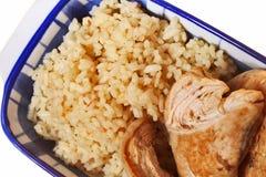 Het vlees van de rijst en van de kip Stock Afbeeldingen