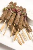 Het vlees van Kebab op vleespennen Royalty-vrije Stock Foto