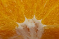 Het vlees van sappige rijpe sinaasappel als achtergrond of achtergrond, close-upsamenvatting vertroebelde beeld stock afbeelding