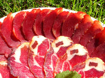Het vlees wordt gediend stock afbeelding
