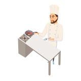 Het vleeslapje vlees van het chef-kokgebraden gerecht Stock Afbeeldingen