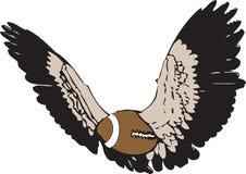 Het vliegen Amerikaanse voetbal - of rugbyvector Stock Afbeeldingen