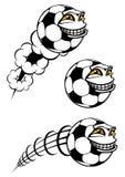 Het vliegen cartooned voetbal of voetbalbal royalty-vrije illustratie