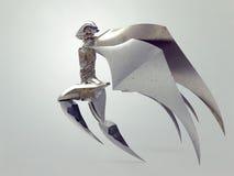 Het vliegen cyborg engel/Oud engelenstandbeeld Royalty-vrije Stock Foto