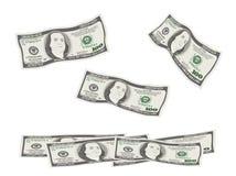 Het vliegen, dalende 100 dollarsrekeningen vector illustratie