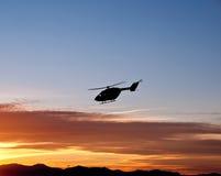 Het vliegen in de zonsondergang Stock Fotografie