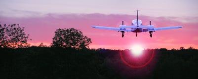 Het vliegen in de zonsondergang royalty-vrije stock afbeeldingen