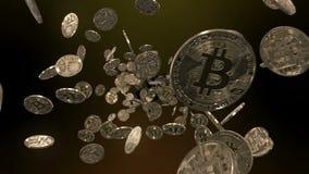 Het vliegen door Bitcoins stock video