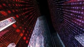 Het vliegen door de Digitale Neonstad in het netwerk van telecommunicatieinternet het 3d teruggeven Stock Afbeelding