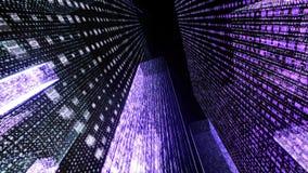 Het vliegen door de Digitale Neonstad in het netwerk van telecommunicatieinternet het 3d teruggeven Royalty-vrije Stock Afbeelding