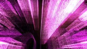 Het vliegen door de Digitale Neonstad in het netwerk van telecommunicatieinternet het 3d teruggeven Royalty-vrije Stock Foto