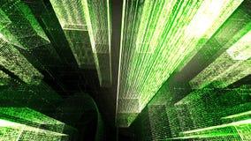 Het vliegen door de Digitale Neonstad in het netwerk van telecommunicatieinternet het 3d teruggeven Royalty-vrije Stock Foto's