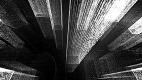 Het vliegen door de Digitale Neonstad in het netwerk van telecommunicatieinternet het 3d teruggeven Stock Foto