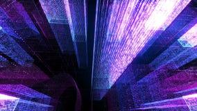Het vliegen door de Digitale Neonstad in het netwerk van telecommunicatieinternet het 3d teruggeven Stock Fotografie