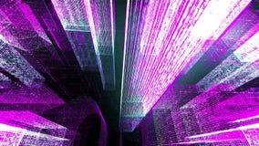 Het vliegen door de Digitale Neonstad in het netwerk van telecommunicatieinternet het 3d teruggeven Stock Foto's