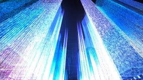 Het vliegen door de Digitale Stad in het commerciële en telecommunicatienetwerk van Internet het 3d teruggeven Royalty-vrije Stock Foto