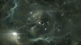 Het vliegen door een starfield in kosmische ruimte stock footage