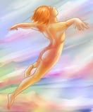Het vliegen in een droom - digitale kunstschets Stock Afbeelding