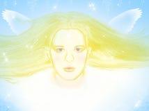 Het vliegen engel stock afbeeldingen